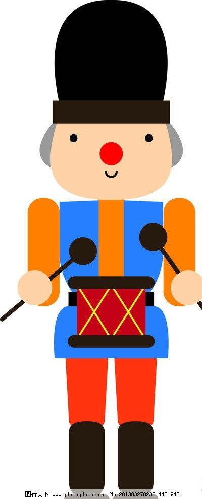 人物 可爱 卡通 打鼓 机器人 矢量人物