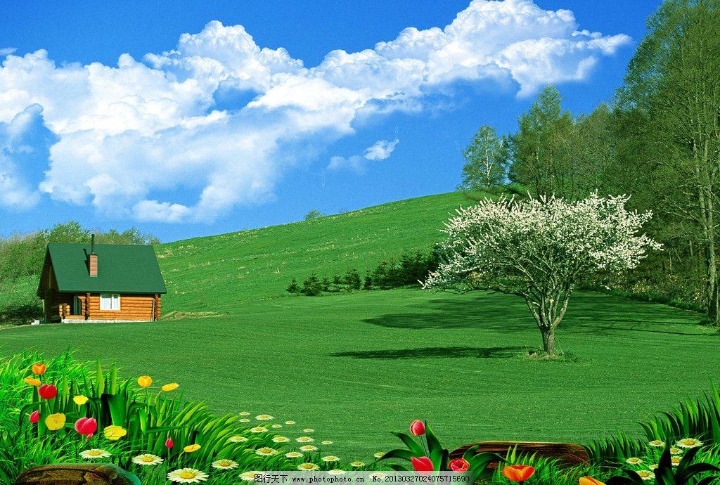 蓝天白云 大树 蓝天 白云 小屋 别墅 围栏 草地 森林 风景 鲜花 蝴蝶