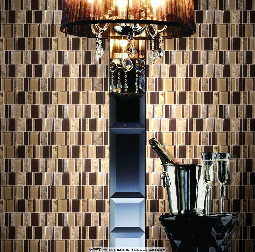 马赛克效果图 酒杯 灯 灯光 大灯 欧式 欧式背景墙 生活用品 生活百科