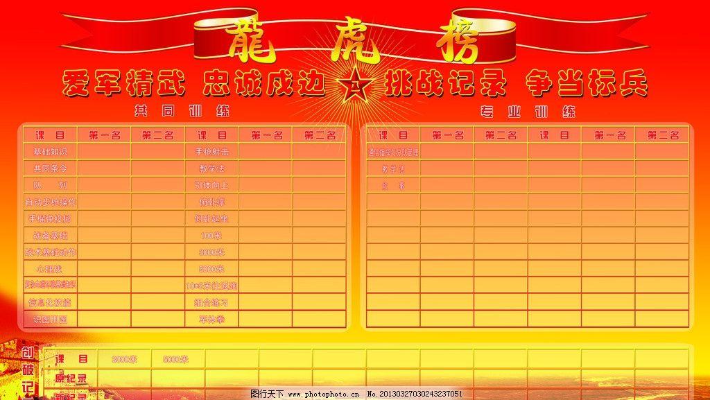 龙虎榜 部队 展板 红黄色背景 表格 展板模板 广告设计模板 源文件