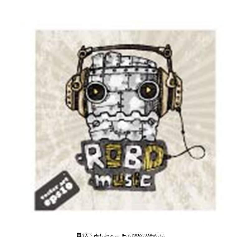 怪物 机器人 机械人 耳机 插画 背景画 动漫 卡通 时尚背景 背景元素