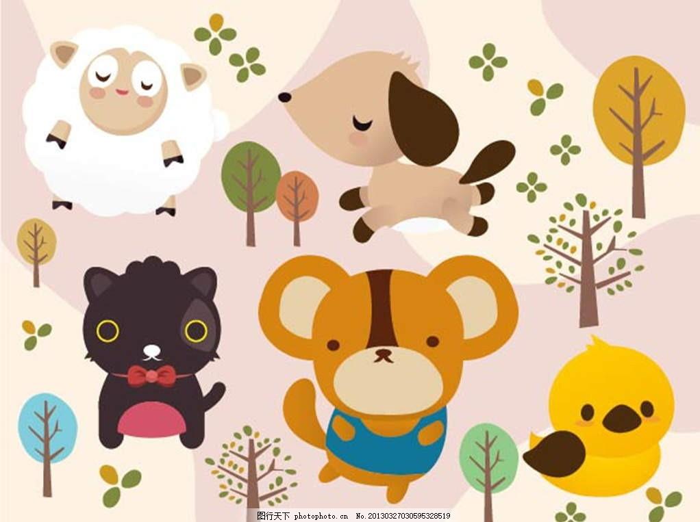 小动物 小熊 小鸟 小狗 小猫 大树 树木 树林 森林 自然 插画