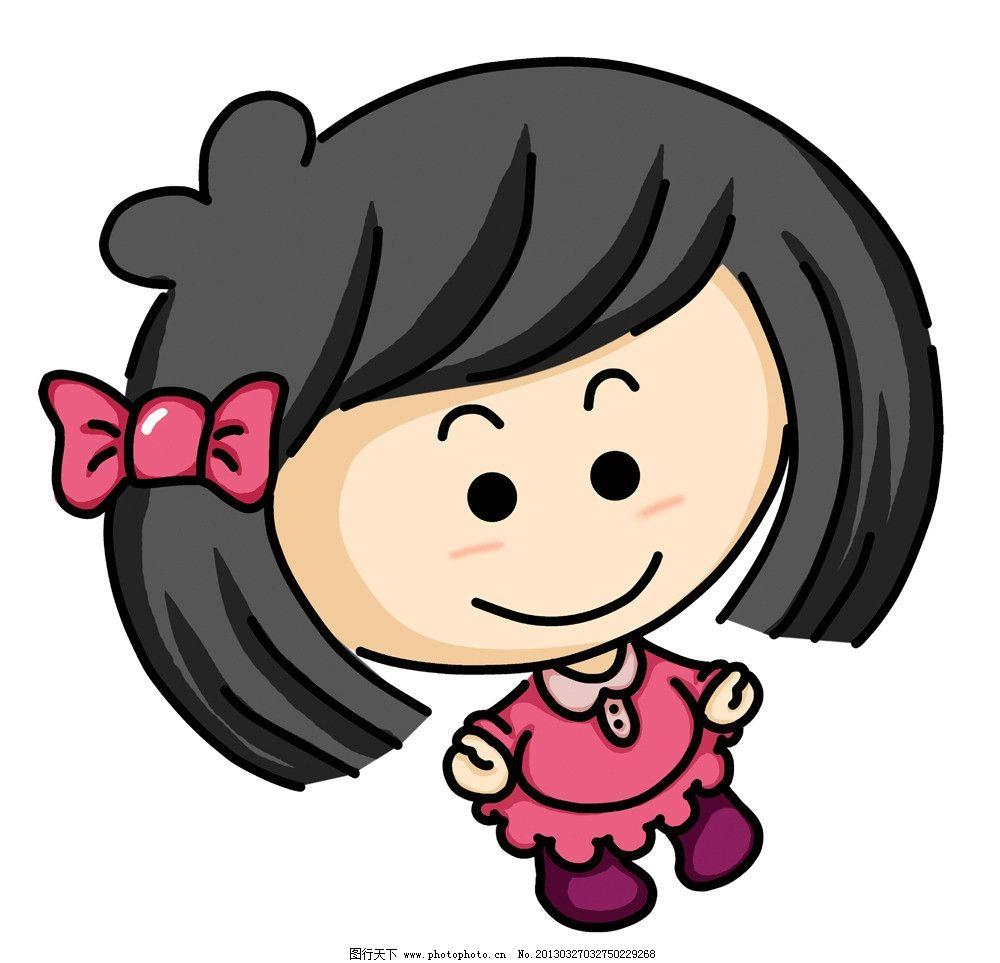 q版卡通小女孩 清新 简洁 简笔画 可爱 萌 小学生 人物 源文件