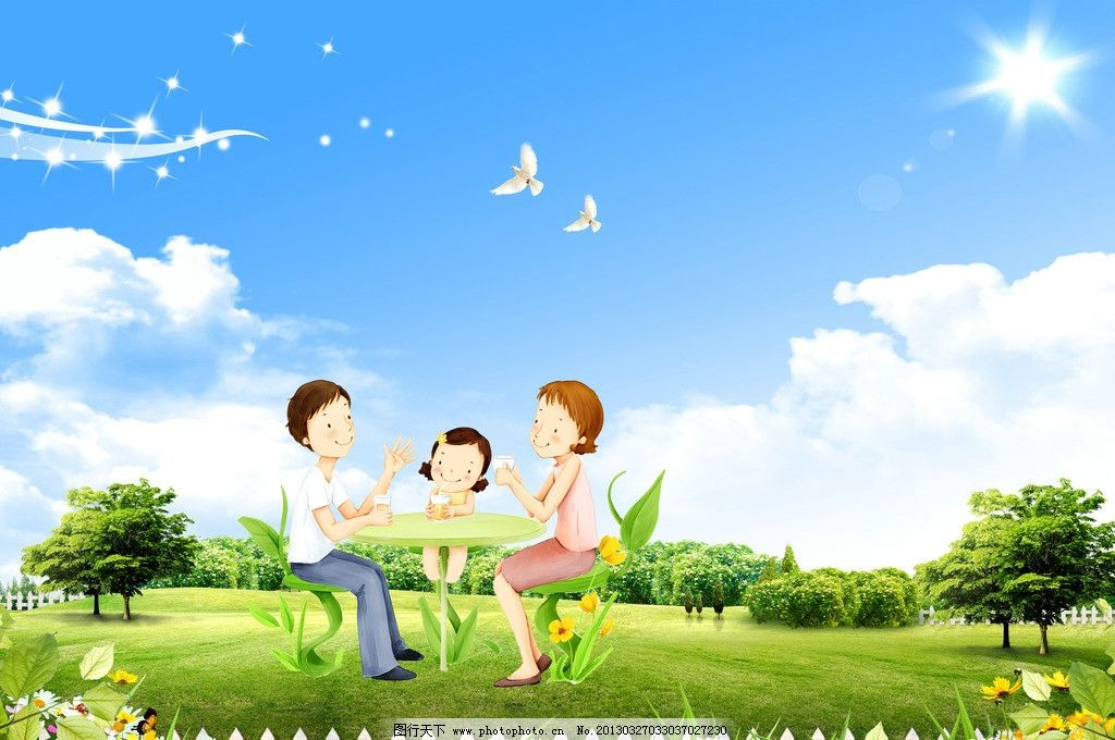 幸福一家人卡通图片个人分开