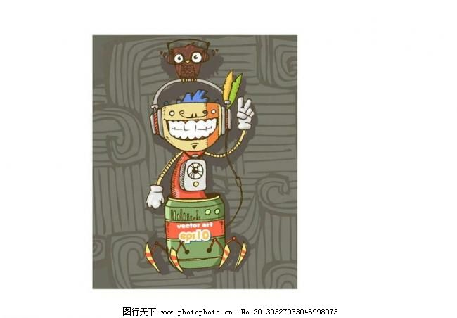 机器人 机械人 插画 背景画 动漫 卡通 时尚背景 背景元素 图画素材