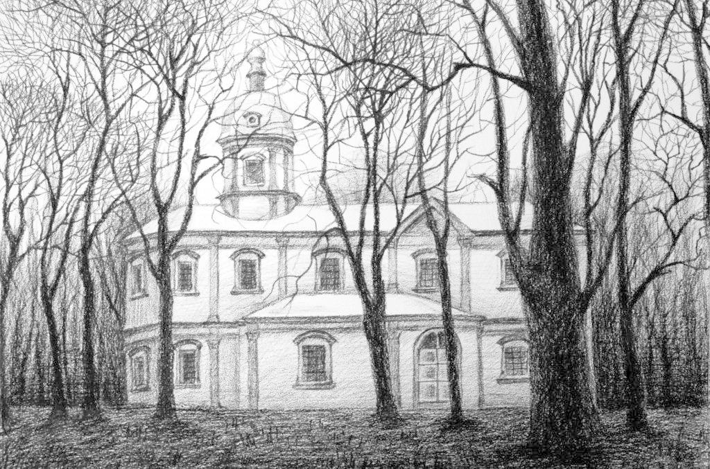 素描绘画作品 素描画 风景画 树木 欧式建筑 森林 黑白 艺术 画作