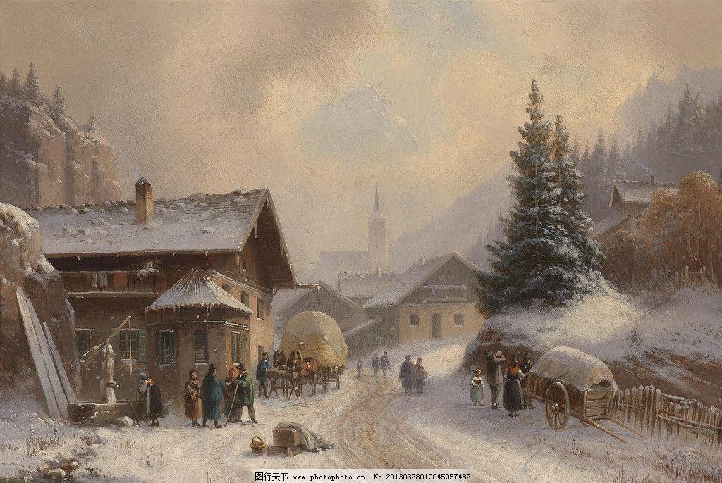油画 绘画 美术 装饰画 配画 挂画 高清 手绘 风景 雪 下雪 雪景 木屋
