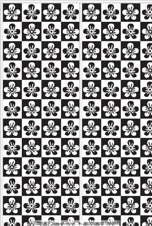花瓣图案 图案 矢量图案 移门 移门图案 黑白 单色 插画 背景画 无缝