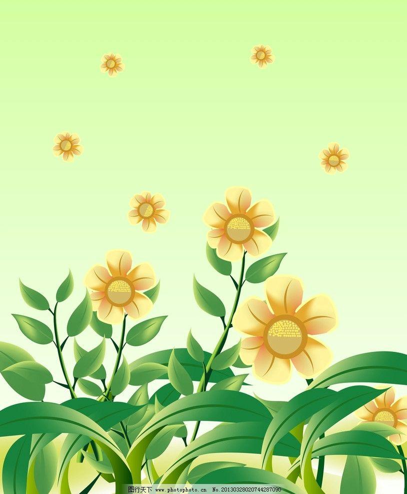 花朵移门 黄花 绿叶 泡泡 底纹边框 移门图案