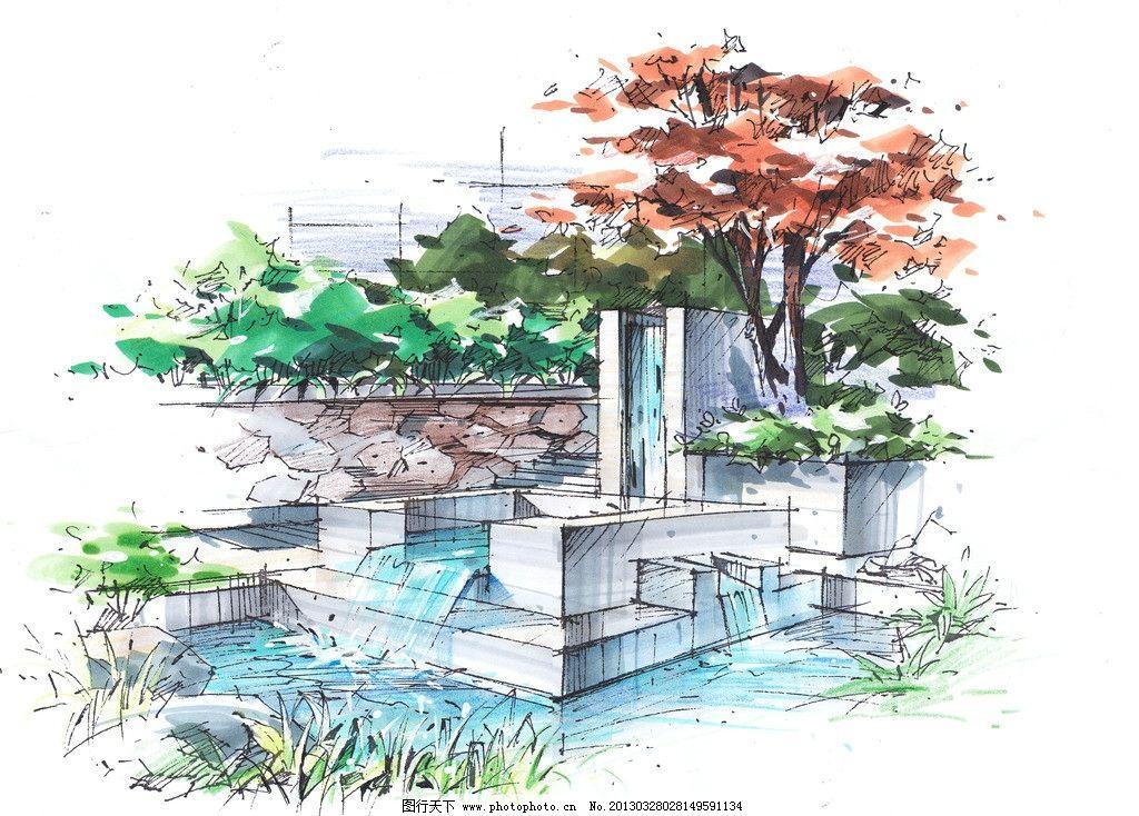 小品手绘效果图 手绘 小品 设计 绿化        景观设计 环境设计 200d