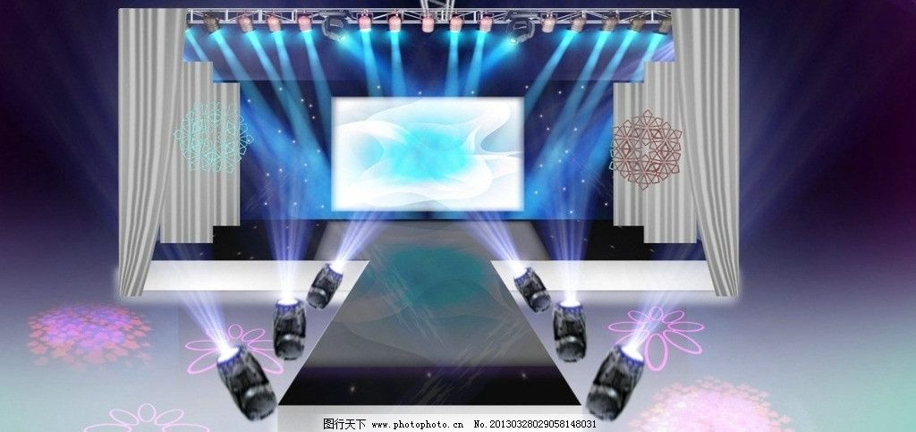 炫丽清新舞台效果图 舞台t台 舞美 灯光 舞台效果图 其他设计 环境