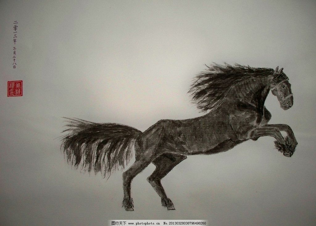 瘦马 水墨画 国画 原创 动物 美术绘画 摄影