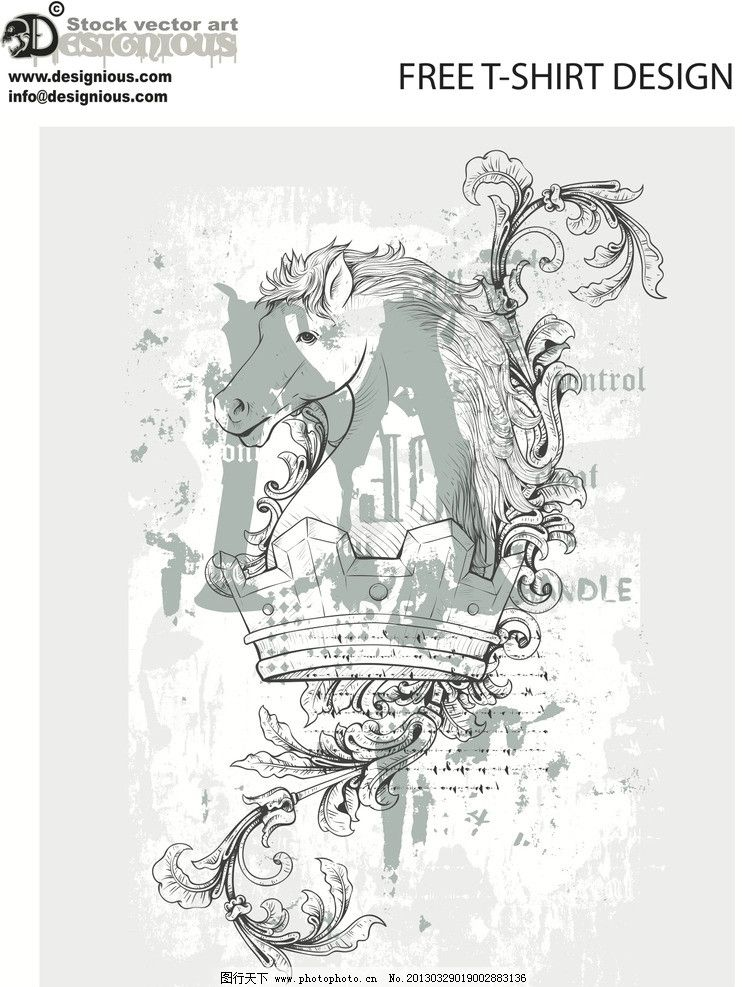 战马 骏马 手绘 线条 皇冠 花纹 植物 叶子 纹理 底纹 艺术素材