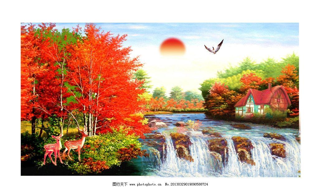 油画图片,油画风景 漂亮的山水油画 山水画 油画山水