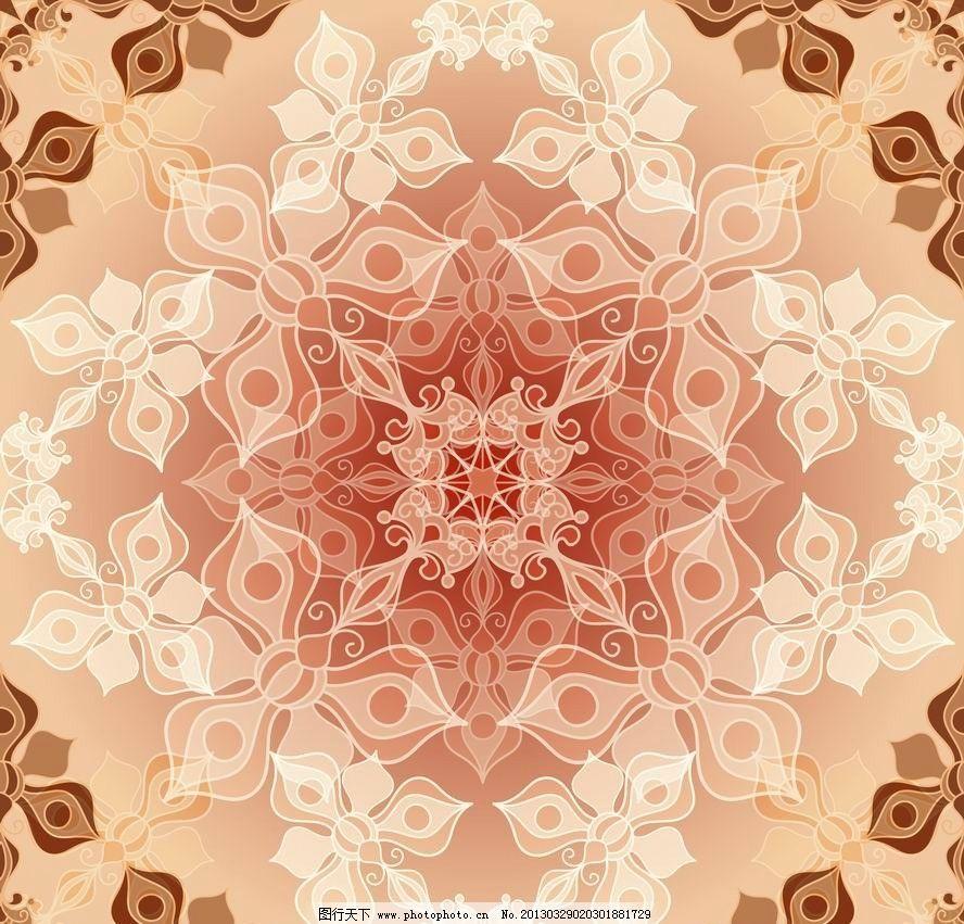 古典花纹花朵 欧式 花卉 对称 时尚 怀旧 潮流 梦幻 背景 矢量