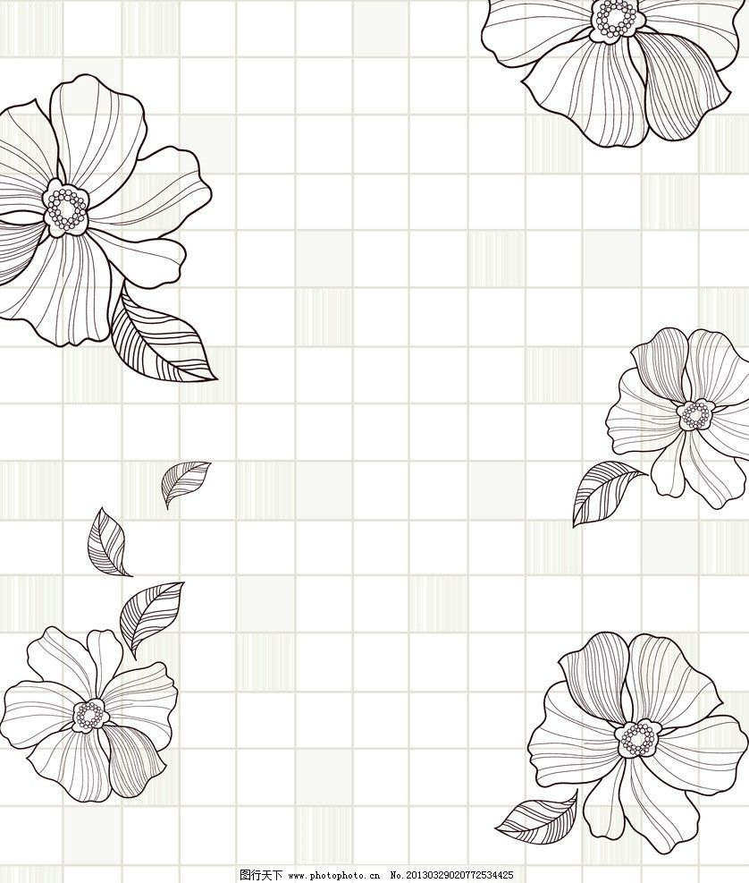 移门 花朵 线条花 叶子 韩国花纹 手绘 格子 网格 淡雅 装饰