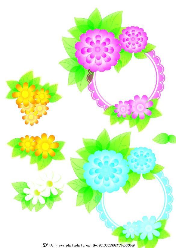 可爱矢量花 粉色 可爱 矢量花朵 边框 底纹 花矢量图 其他 自然景观