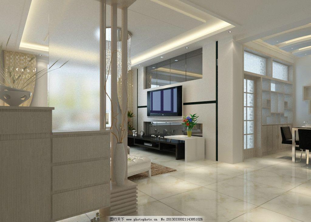 家装室内效果图 效果图模型 客厅模型 客厅整套3d模型 灯光带材质模型