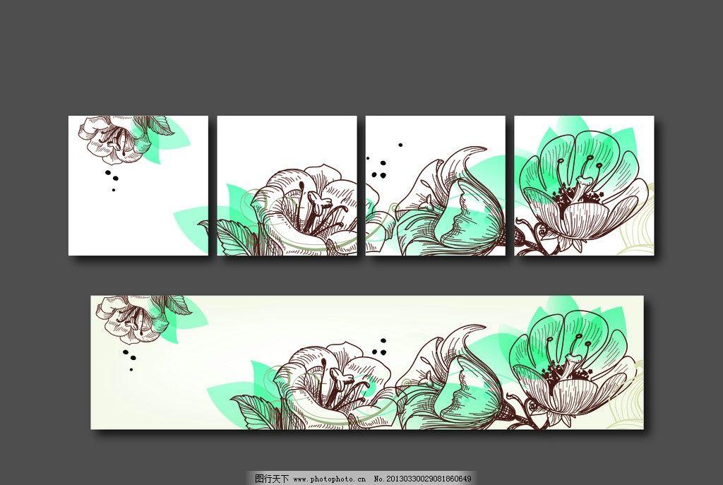 背景墙 装饰画 花卉 三框图 背景 十字绣 家居图 树叶 现代 清新风格
