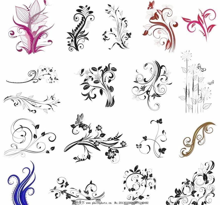 欧式花纹花朵 蝴蝶 缤纷 灿烂 潮流 底纹边框 古典 古典花纹