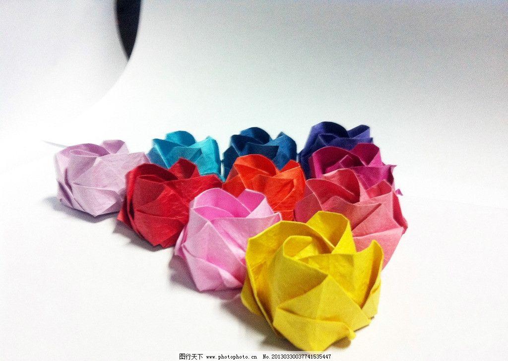 纸花 玫瑰花 纸折花 彩色