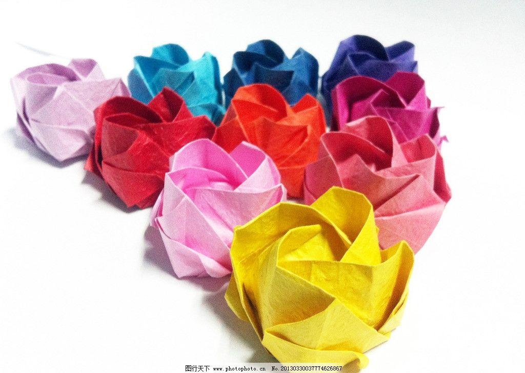 纸花 三角形 玫瑰花 黄色的 枚红色的 玫瑰红 其他 生活百科 摄影 72