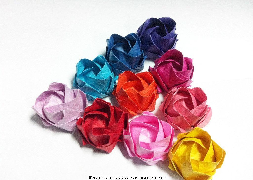 纸花 玫瑰花 彩色 三角形