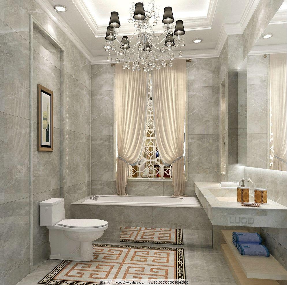 浴室瓷砖效果图 卫生间 洗手间 浴室 瓷片 腰线 花片 抛光 欧式 瓷砖