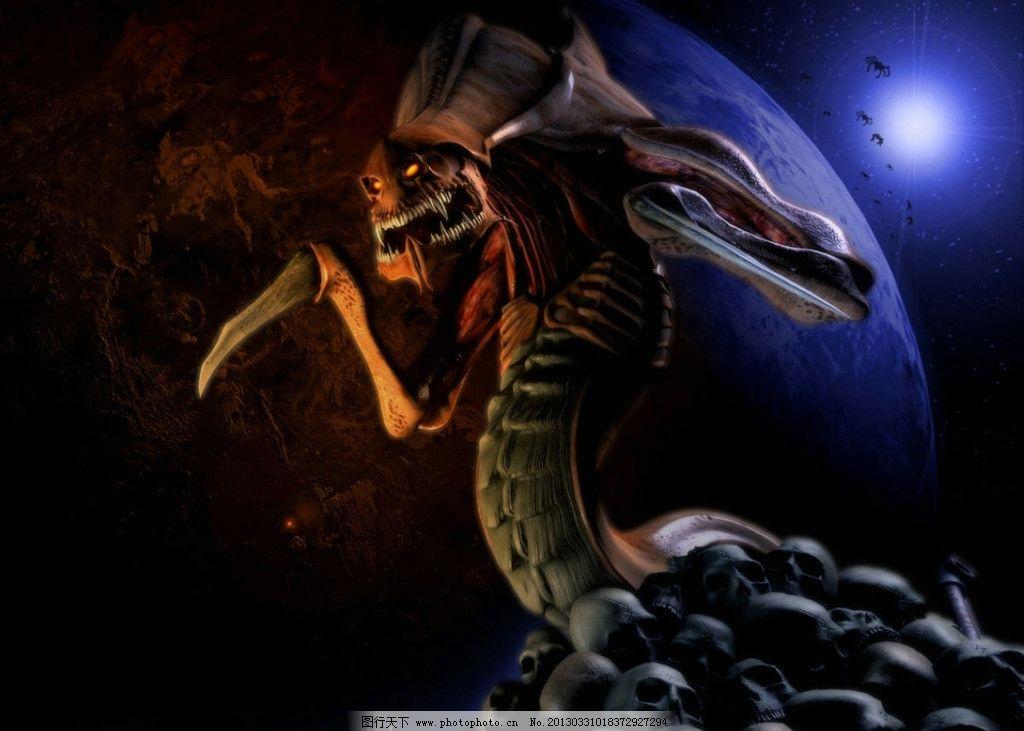 游戏海报设计 蛇妖设计 骨头 额骨 地球 月亮 主角设计游戏人物 游戏