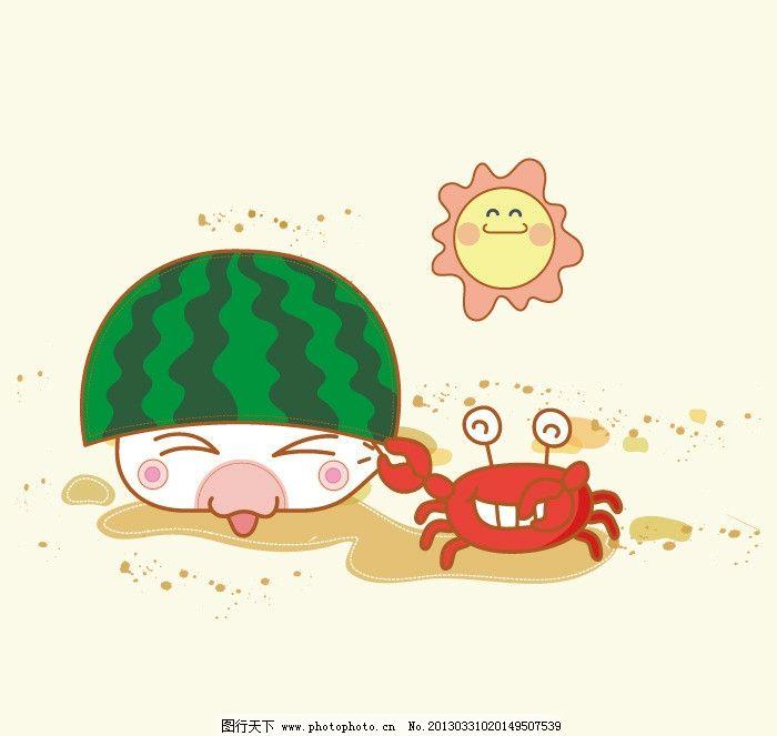 可爱卡通 卡通形象 动物 海豹 螃蟹 静物 西瓜皮 沙滩 太阳