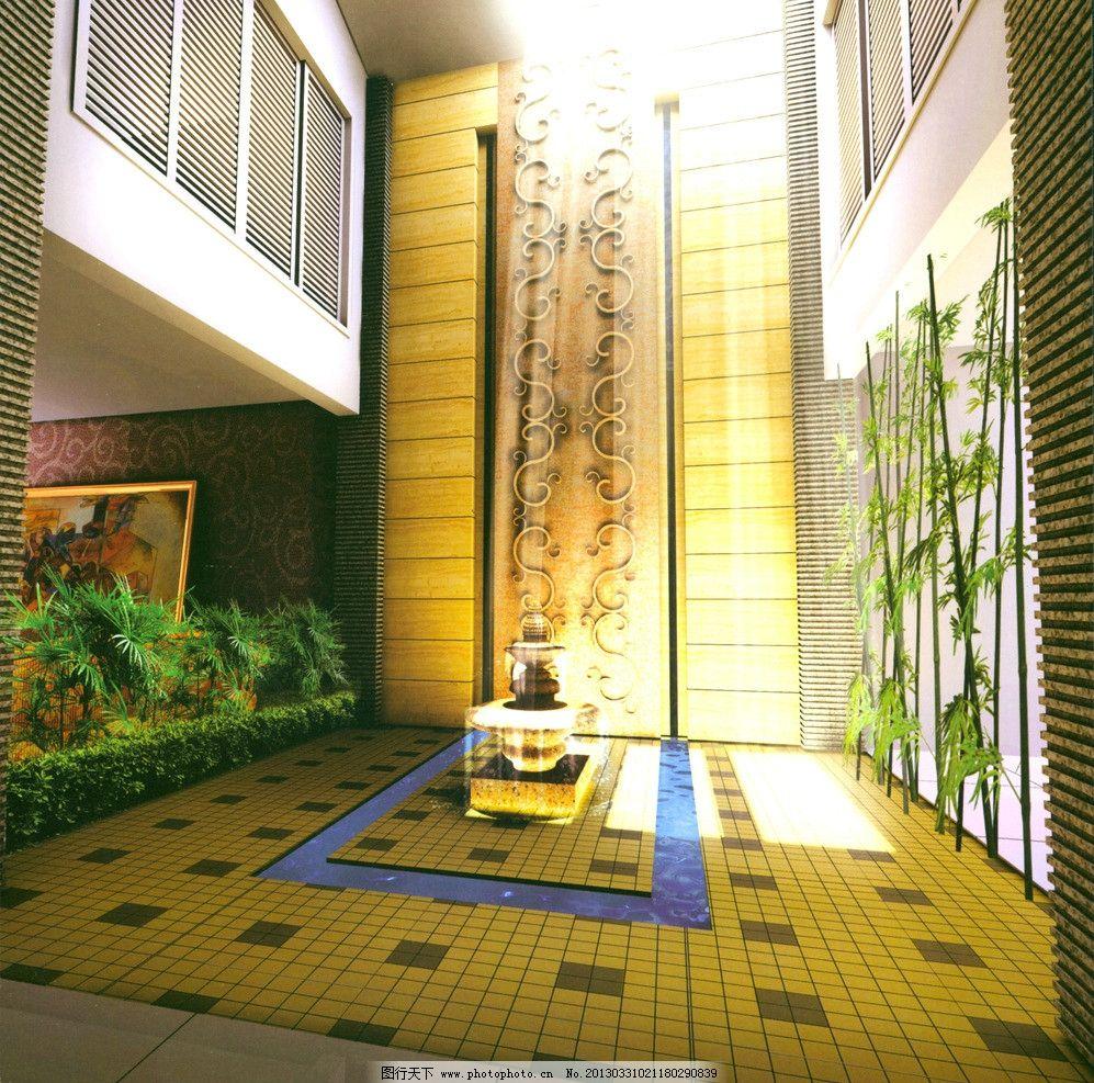 场景 模型场景 中庭模型 中庭场景 室内室外场景 室内模型 3d设计模型