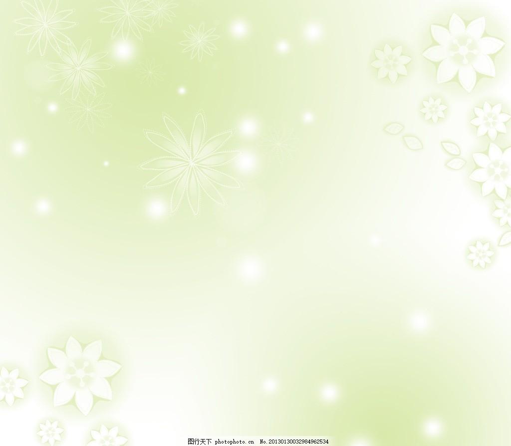 绿色唯美背景,清绿背景,花朵儿,光晕,梦幻元素组合,背景素材,PSD分层素材